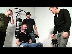 Sinful master in mask ties lad's hangs on gay torture videos