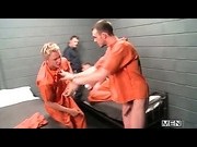 Two officers fuck the two criminals in the cell