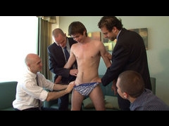 Four pervy guys versus straight young stud
