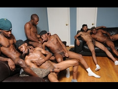 Five black guys in the group action orgy