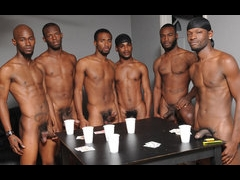 A group of horny black guys playing strip poker