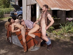 A hot country bear gets fucked at the garage