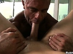 A sexual massage performed by a huge muscular stud