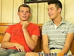 Two teen boys interviewed before making love on the couch