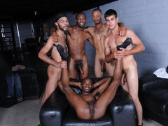 Five horny black man playing pool and then have an orgy.