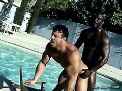 Two gay thugs making sex at the poolside