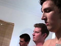 A group of college frat boys need to worship cock