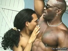 Muscular gay gets asshole licked on black gay porn